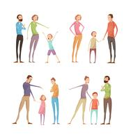 Eltern missbrauchen Kinderkompositionen vektor