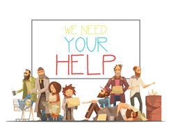 hemlösa människor tecknad stil illustration