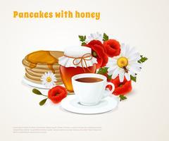 Pfannkuchen Mit Honig Zusammensetzung vektor