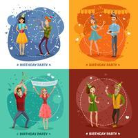 Födelsedagsfest 4 Ikoner Kvadratkomposition