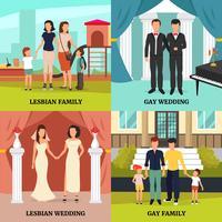 Homosexuella Familjekoncept Ikoner Set