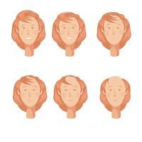 balding kvinna huvuden uppsättning