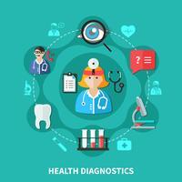 hälso diagnostik platt rund design vektor