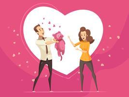 Kärlek gåvor för par valentin tecknad kort vektor