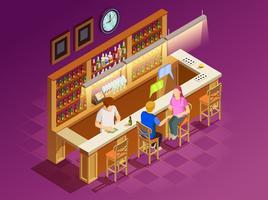 Freunde in der Bar-isometrischen Innenansicht vektor