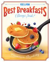Beste Frühstücks-Weinlese-Anzeigen-Plakat vektor