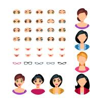 Girl Face Emotions Constructor