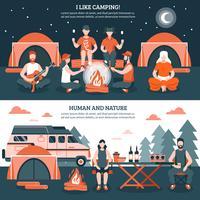 Camping in den wilden Fahnen vektor