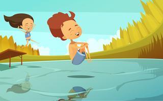 Tecknad illustration med barn hoppar in i sjön