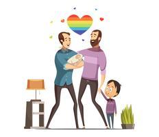 Gay kärleksfull familj Retro tecknad illustration