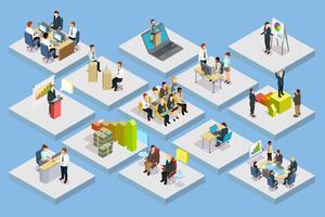 företagsutbildning isometrisk uppsättning
