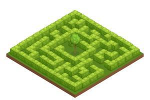 trädgårds labyrint isometrisk komposition vektor