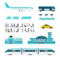 Människor Transport Och Flygplats Ikoner Set vektor
