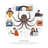 Hackers Criminal Net Scheme Flat Poster