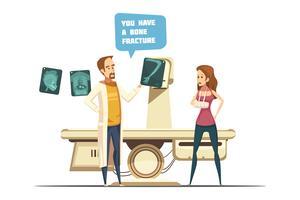 Knochenbruch-Karikatur-Retrostil-Design vektor