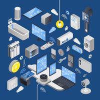 Iot internet av saker isometrisk komposition