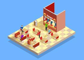 Food Court Counter Area Isometric Composition