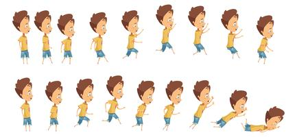 Hoppande och Fallande Pojke Animation vektor