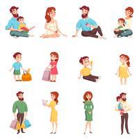 Familjemedlemmar Cartoon Style Set