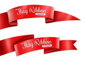 Rote Bänder Banner Set vektor