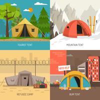Ikonen-Quadrat-Zusammensetzung des Campingzelt-Konzept-4 vektor