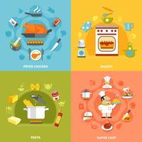 kulinariskt platt koncept vektor