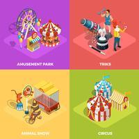 Cirkus 4 isometrisk ikoner kvadrerar affischen