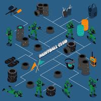 paintball club isometrisk infographics vektor