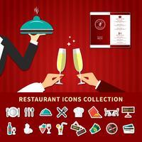 restaurang emoji ikonuppsättning vektor