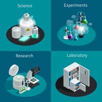 Vetenskapligt laboratorium 2x2 isometrisk designkoncept