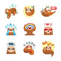 Sloth Emoticon Aufkleber Set vektor