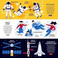 Horizontale Banner der Astronauten vektor