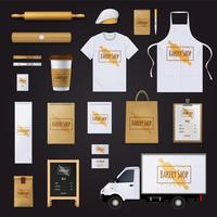 Bageri Corporate Identity Template Design Set vektor