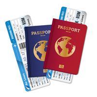 Pass Biljetter Air Travel Realistisk Sammansättning
