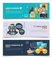 Sociala medier Horisontella Banderoller vektor