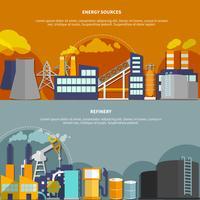 Illustration med energikällor och raffinaderi