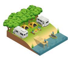 Freizeitfahrzeuge am See isometrische Zusammensetzung
