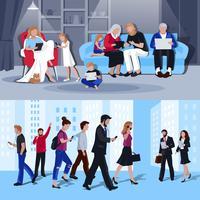 Menschen mit Gadgets 2 flache Banner vektor
