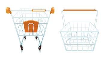 Leerer Einkaufswagen und Korbsatz