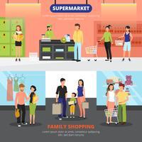 Einkaufen-Leute-Fahnen eingestellt