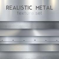 Metal Texture Realistiska Horisontella Prov Set vektor