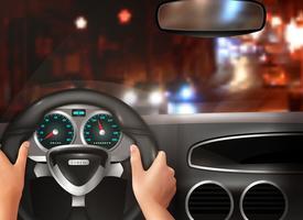 Car Driving Realistic Design Concept vektor