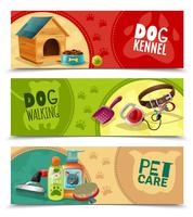 Pet Care 3 Horisontell Banners Set vektor