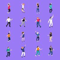 Tanzende Leute-Bewegungs-isometrische Ikonensammlung vektor