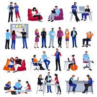 Coworking Människor Isolerade Ikoner Set
