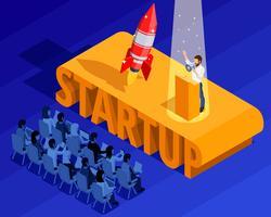 Isometrische Vorlage für Unternehmensgründungen