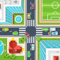 Stadtkreuzung Draufsicht