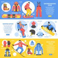 Snowboard Horisontella Banderoller vektor