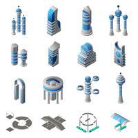 Zukünftige Stadt isometrische Icons Set