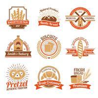Bageri Logo Emblem Set vektor